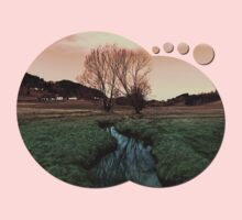 A stream, dry grass, reflections and trees II | waterscape photography Kids Clothes