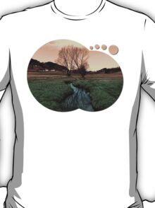 A stream, dry grass, reflections and trees II | waterscape photography T-Shirt