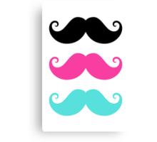 Mustache! Black, hot pink and aqua blue Canvas Print