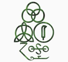 LED ZEPPELIN BAND SYMBOLS (GREEN SNAKE) by Endlessgrief