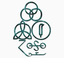 LED ZEPPELIN BAND SYMBOLS (TEAL SNAKE) by Endlessgrief
