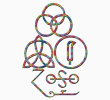 LED ZEPPELIN BAND SYMBOLS (TIE DYE) by Endlessgrief