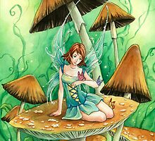 Green Mushroom fairy, cute anime art by meredithdillman