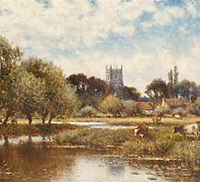 Cattle watering, Kempstead-on-Thames by Bridgeman Art Library