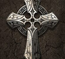 Rough Stone Gothic Cross with Tribal Inlays  by Jeff Bartels