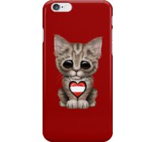Cute Kitten Cat with Austrian Flag Heart iPhone Case/Skin