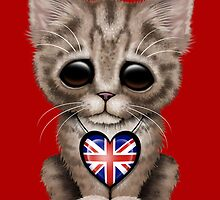 Cute Kitten Cat with British Flag Heart by Jeff Bartels