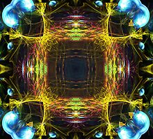 yellow pink blue fractal mandala by Manafold Art