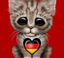 Cute Kitten Cat with German Flag Heart by Jeff Bartels