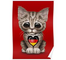 Cute Kitten Cat with German Flag Heart Poster