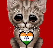 Cute Kitten Cat with Indian Flag Heart by Jeff Bartels