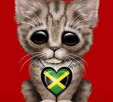 Cute Kitten Cat with Jamaican Flag Heart by Jeff Bartels