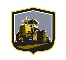 Farmer Driving Vintage Farm Tractor Plowing Retro by patrimonio