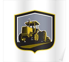Farmer Driving Vintage Farm Tractor Plowing Retro Poster