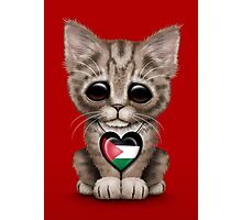 Cute Kitten Cat with Palestinian Flag Heart Photographic Print