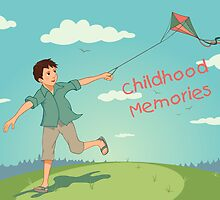 Happy running boy with a kite. Childhood memories by PaulMalyugin