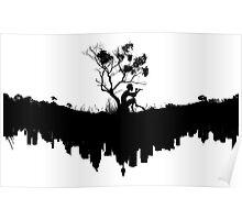 Urban Faun - Black on White Poster