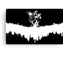 Urban Faun - White on Black Canvas Print