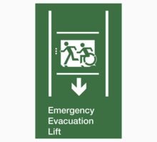 Emergency Evacuation Lift Sign, Left Hand Down Arrow, with the Accessible Means of Egress Icon and Running Man, part of the Accessible Exit Sign Project by LeeWilson