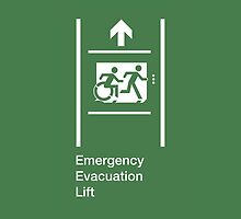 Emergency Evacuation Lift Sign, Right Hand Up Arrow, with the Accessible Means of Egress Icon and Running Man, part of the Accessible Exit Sign Project by LeeWilson