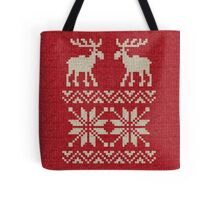 Moose Pattern Christmas Sweater Knit Tote Bag