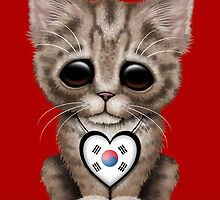 Cute Kitten Cat with South Korean Flag Heart by Jeff Bartels
