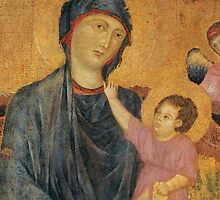 Detail of Madonna and Child Enthroned with Two Angels by Bridgeman Art Library