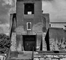 San Miguel Mission with Stairs  by Robert Meyers-Lussier