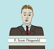 F Scott Fitzgerald Portrait in 60 seconds in Blue by CecelyBloom