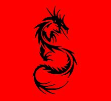 Chinese Style Dragon on red background by Val  Brackenridge