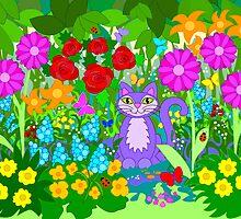 Cat in the Garden Butterflies Flowers Ladybugs by HappyArtSpirit