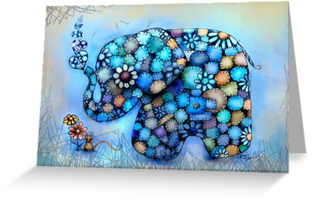 Little Blue the Patchwork Elephant by © Karin  Taylor