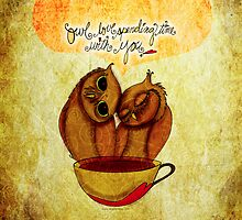 What my #Coffee says to me - June 6, 2014 Pillow by catsinthebag