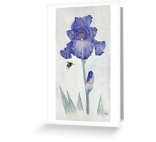 Blue Iris with Bee Greeting Card