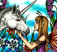 Fairy and Unicorn in Color by TASIllustration
