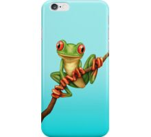 Cute Green Tree Frog on a Branch iPhone Case/Skin