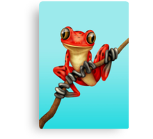 Cute Red Tree Frog on a Branch Canvas Print