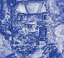 Thatched Cottage - Cyanotype of Original Painting by Heather Holland by Heatherian