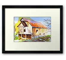 Missouri Barn in Watercolor Framed Print