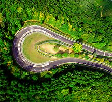 Aerial shot #2 of the Nürburgring Nordschleife Caracciola Karussell by BridgeToGantry