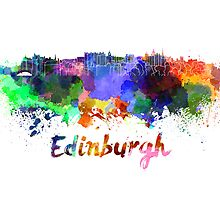 Edinburgh skyline in watercolor by paulrommer