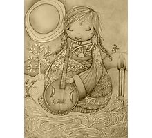 Moon Guitar drawing Photographic Print