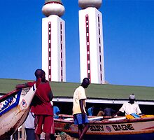 Mosque along the West African coast - Print by WonderMeMosaics