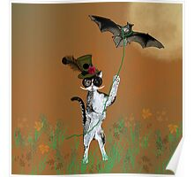 Steampunk Kitty Flying A Bat Poster