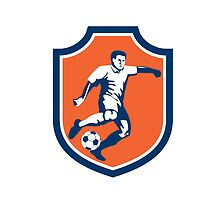 Soccer Player Kicking Ball Shield Retro by patrimonio