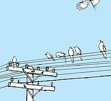 Birds on a wire by Rob Cowan