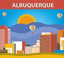 Albuquerque, New Mexico Print  horizontal original art by Loose Petals by Loose  Petals