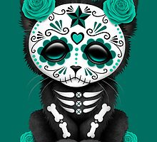 Cute Teal Blue Day of the Dead Kitten Cat by Jeff Bartels
