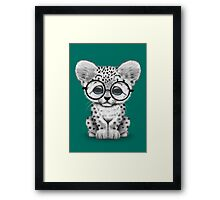 Cute Snow Leopard Cub Wearing Glasses on Teal Blue Framed Print