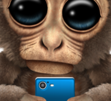Cute Baby Monkey Holding a Blue Cell Phone  Sticker